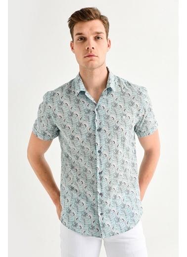 Avva Erkek  Baskılı Apaş Yakalı Slim Gömlek A01Y2049 Yeşil